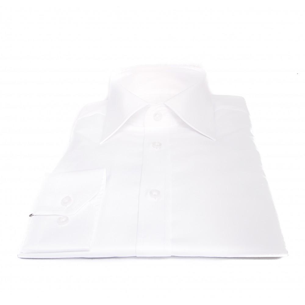 Chemise Reims : Blanc - Grand col français - 100% Coton