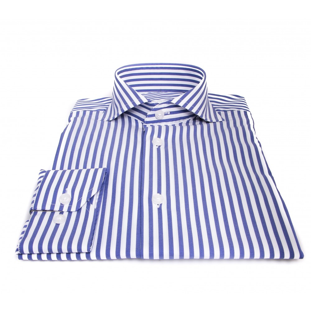 Chemise Roomy : Bleu et blanc - Col Italien - 100% Coton