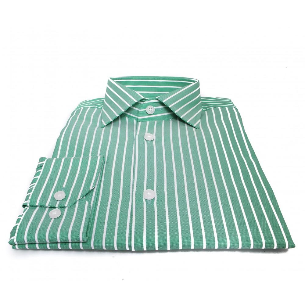 Chemise Cambridge : Rayures vertes et blanches - Col français - 100% Coton