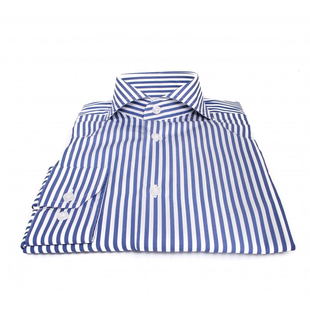 Chemise Downing : Blanc et bleu - Col Italien - 100%Coton