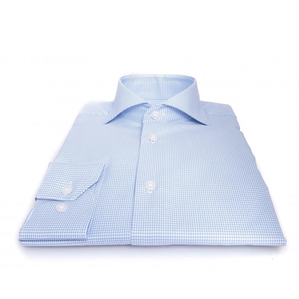 Chemise Prince : Pied-de-puce bleu - Col Italien - 100% Coton