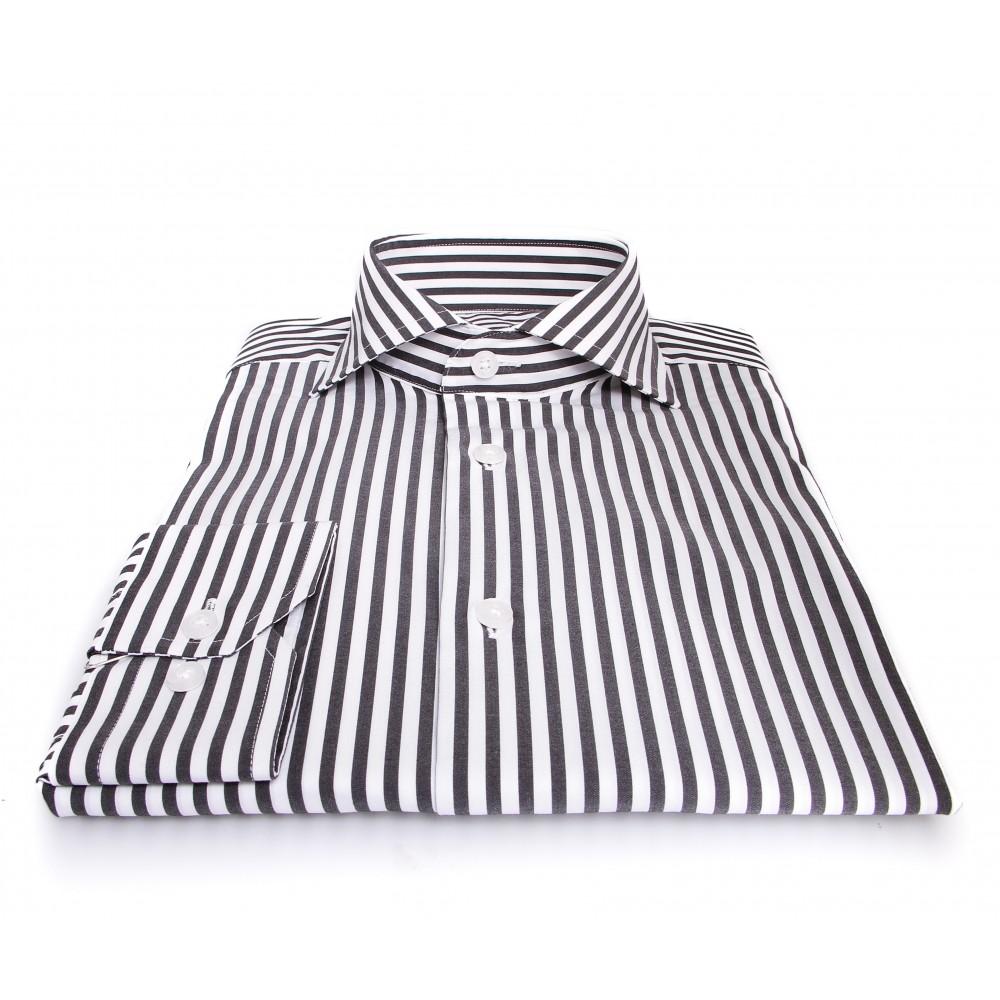 Chemise Roomy : Noir et blanc - Col Italien - 100% Coton