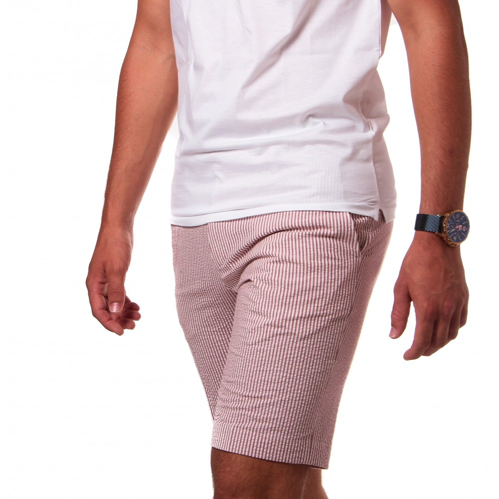 Bermuda Seersucker : rose à rayures blanches - coton-stretch - made in Italy