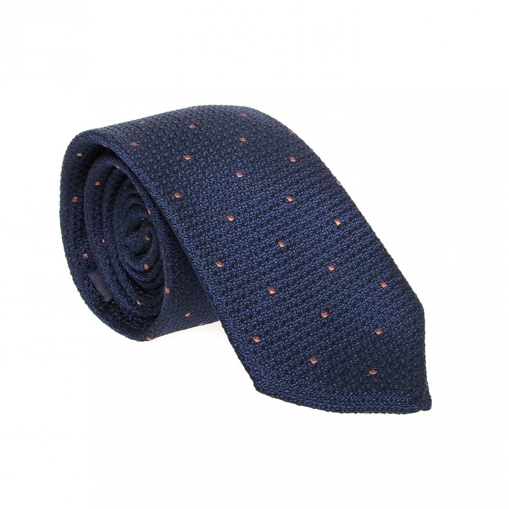 Cravate en soie : Bleu marine - Pois beige