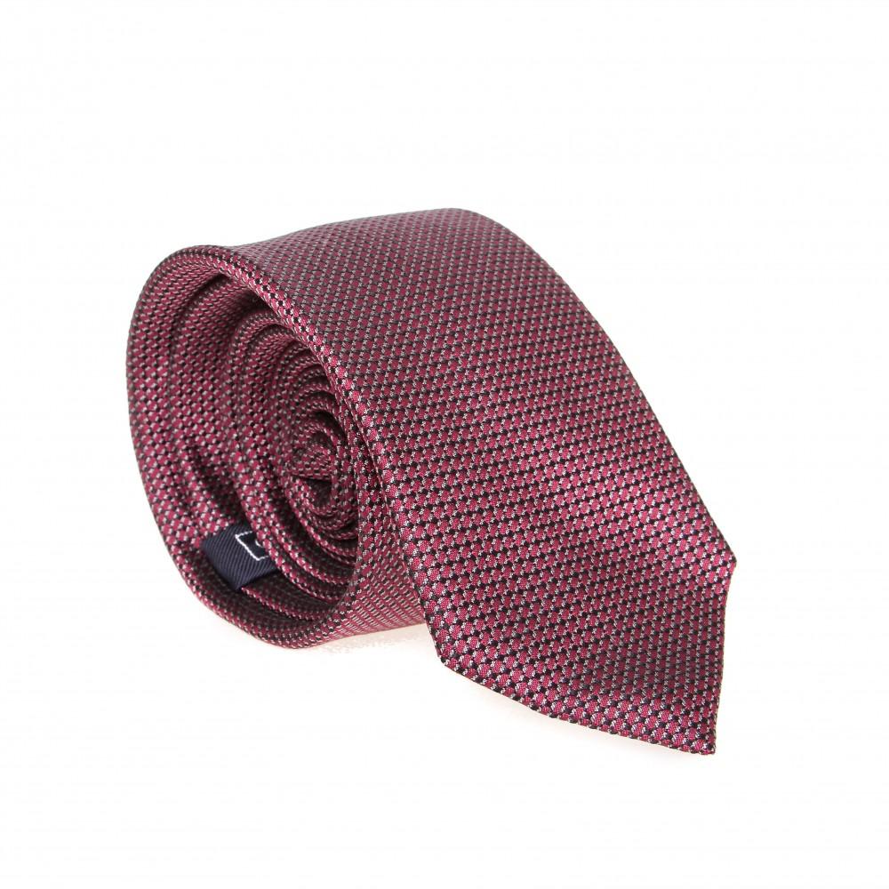 Cravate en soie : Motif rouge noir et blanc
