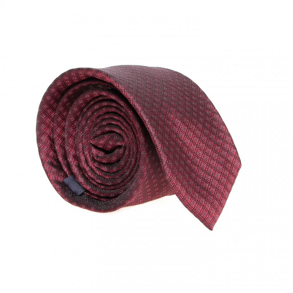 Cravate en soie : Base rouge - Motif losange noir et blanc