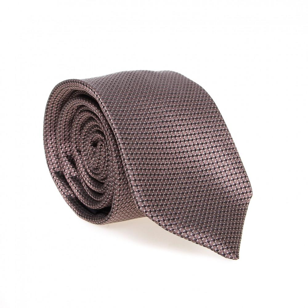 Cravate en soie : Base taupe - Motif losange noir et blanc