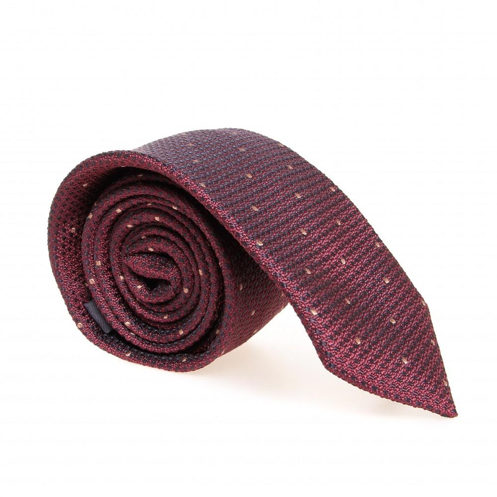Cravate en soie : Rouge bordeaux - Pois beige