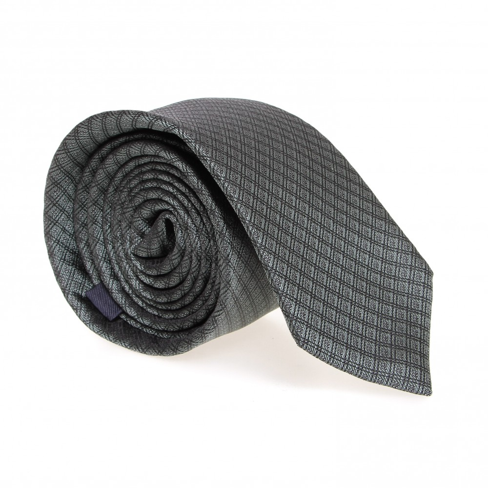 Cravate en soie : Base verte - Motif losange noir et blanc