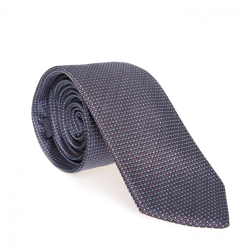 Cravate en soie : Base ciel - Pois marron