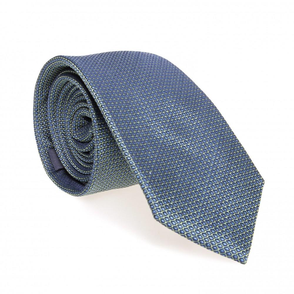 Cravate en soie : Base verte - Pois bleu ciel