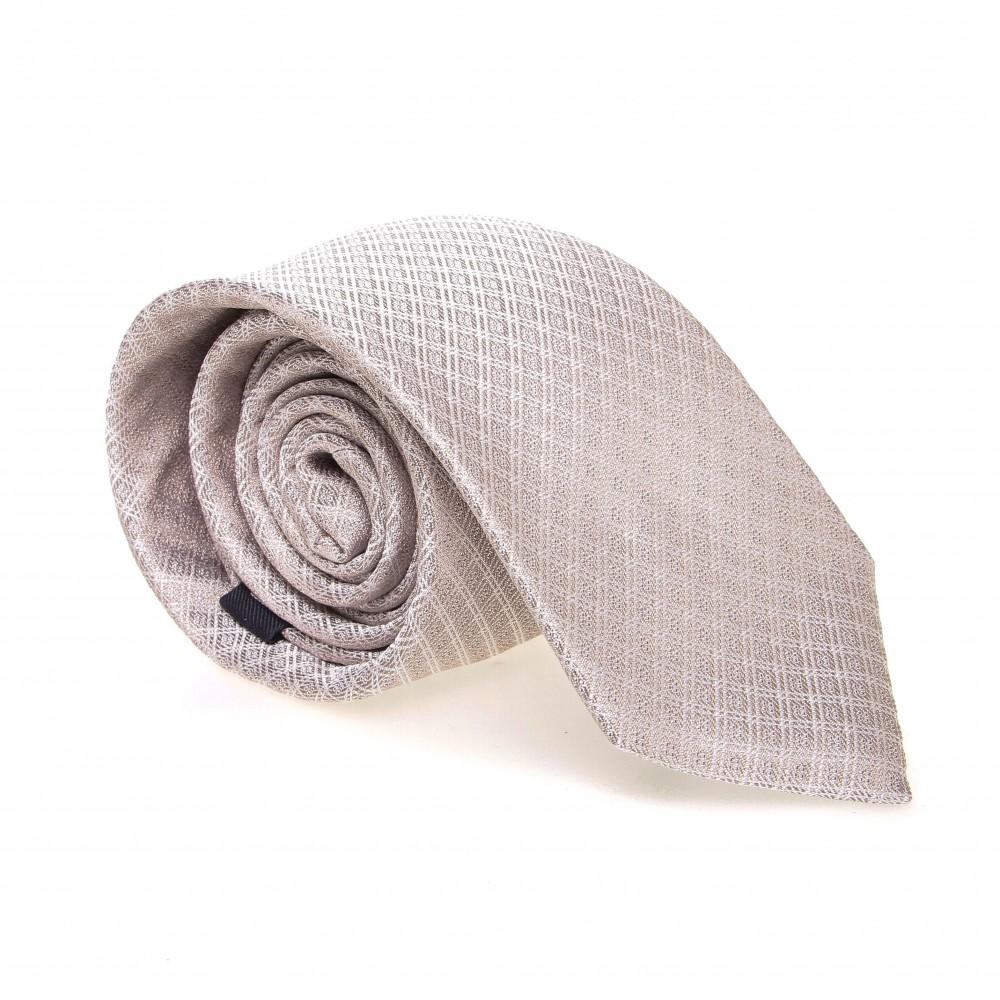 Cravate en soie : Base beige - Motif losange blanc