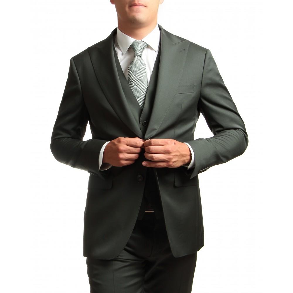 Costume 3 pièces Vert Uni - Slim-Fit - Pure Laine - Tissu Canonico 110's