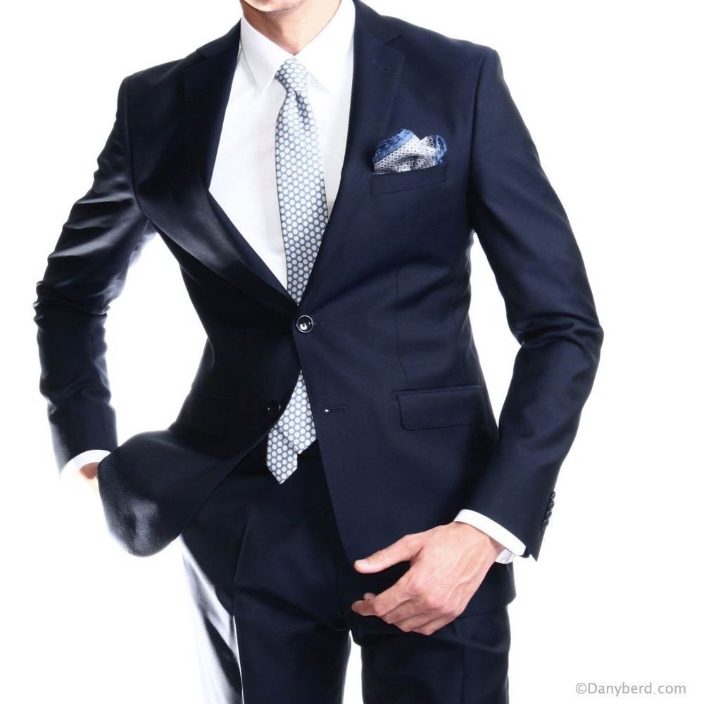 Costume marine - Slim-Fit - Pure Laine - Tissu Canonico 120's (Suits)