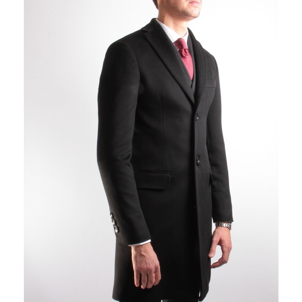Manteau : Noir - 100% Cachemire - Tissu Loro Piana (Manteau)