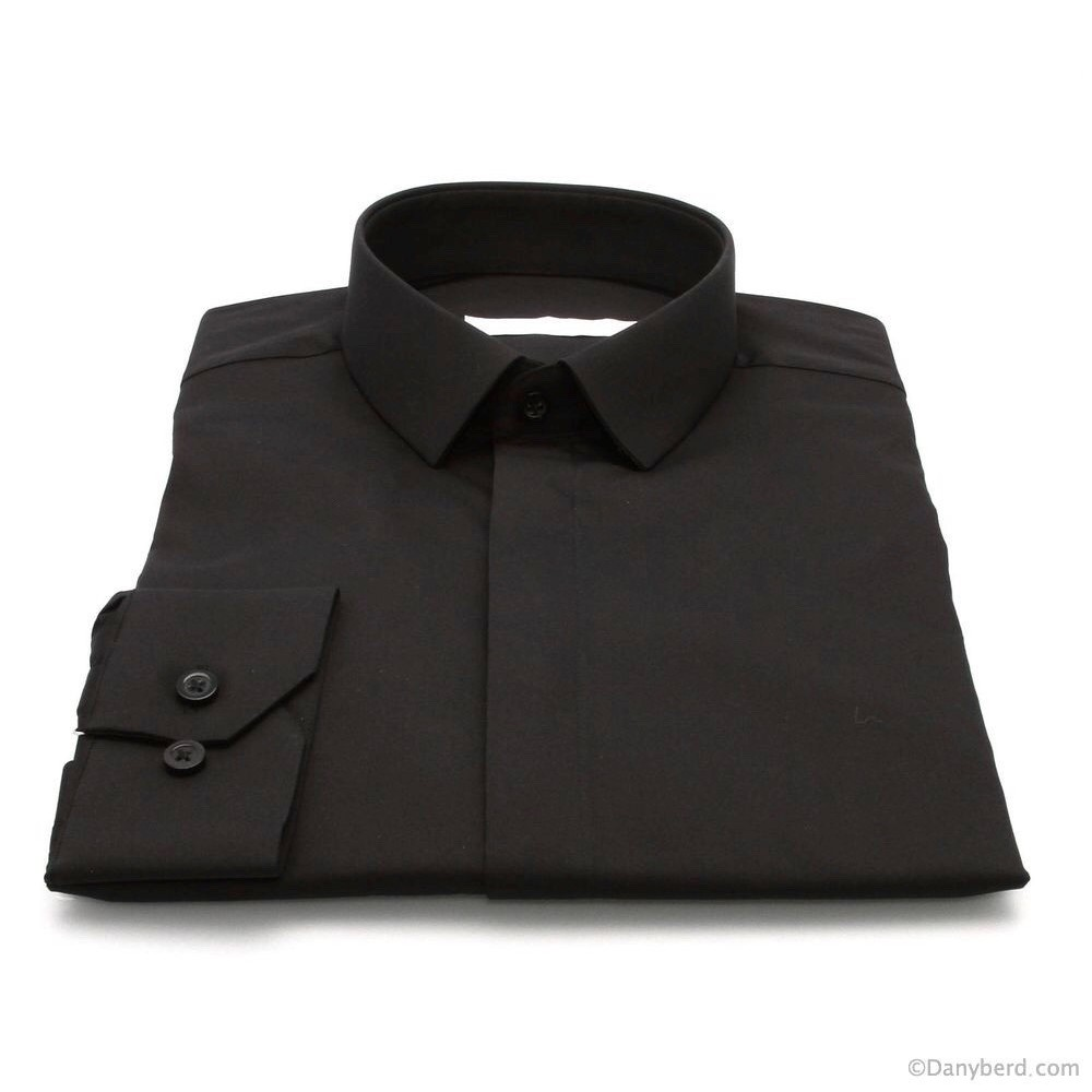 Chemise Roomy : Noire - Micro Col Cache-Boutons