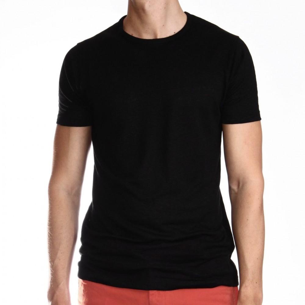 Tee-Shirt en Lin Lavé :  Noir - Manches courtes