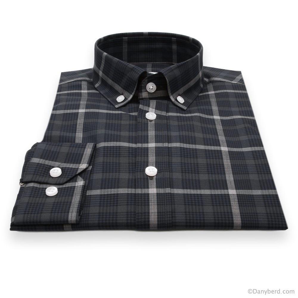 Chemise Olympe : Carreaux marine - Slim-Cut - Col boutonné (chemise