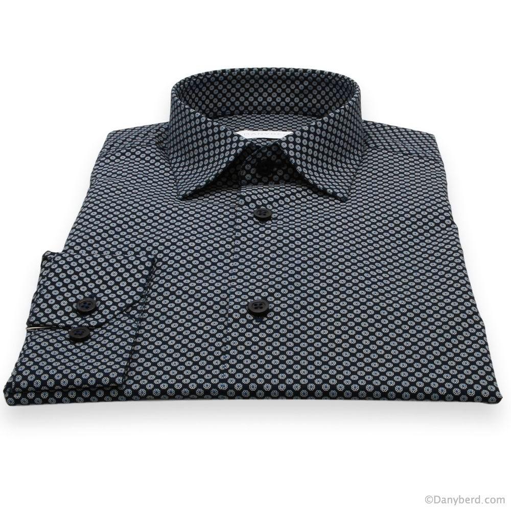 Chemise Stitch : Base marine et Motif blanc - Slim-Cut - Petit Col Français (chemises)