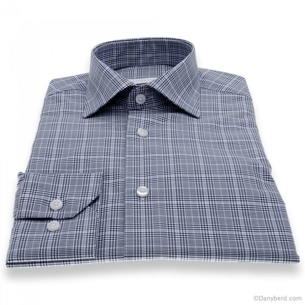 Chemise Lissandro : Carreaux bleus - Slim-Cut - Col Français (Shirts)