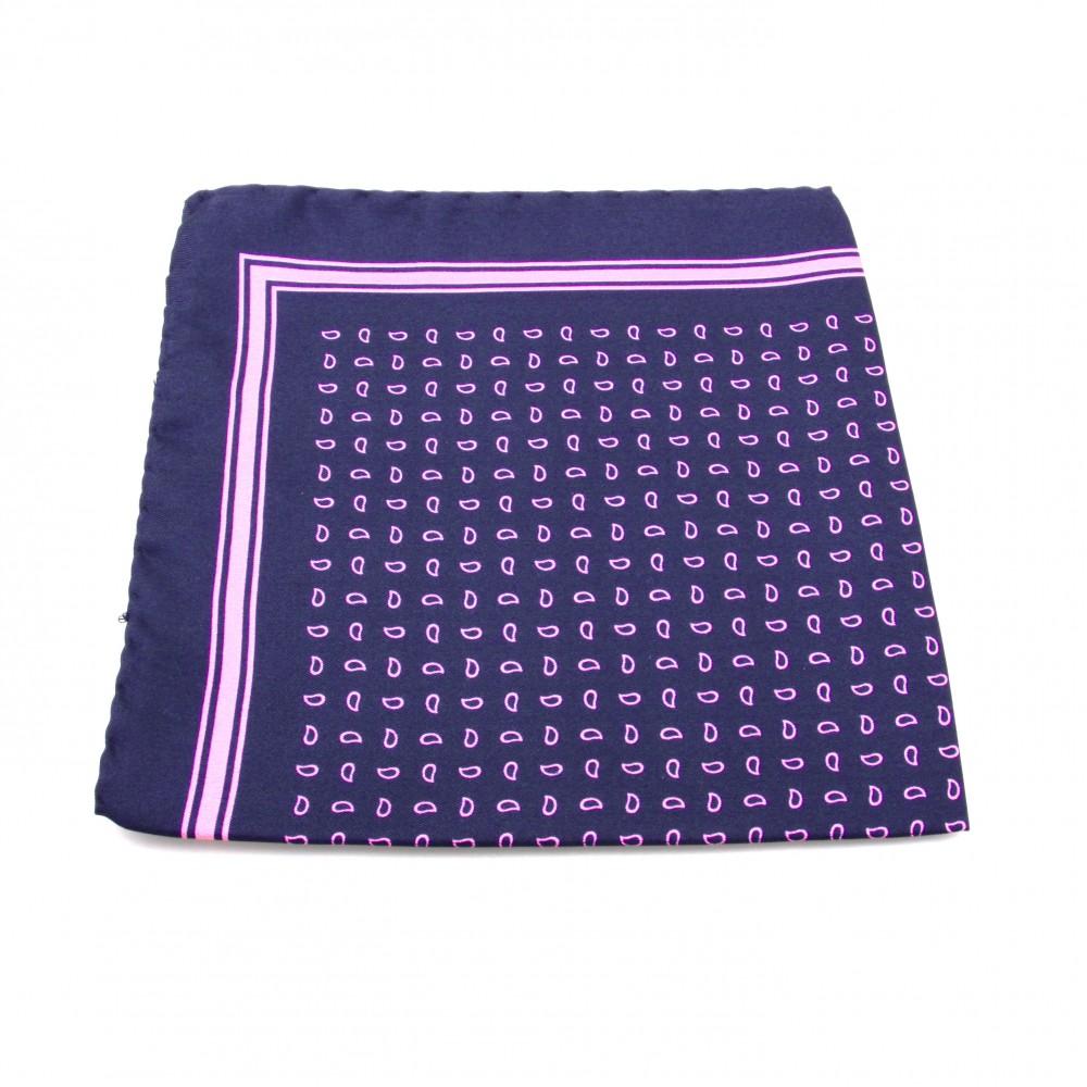 Pochette soie : Marine - motifs roses (Pochettes)