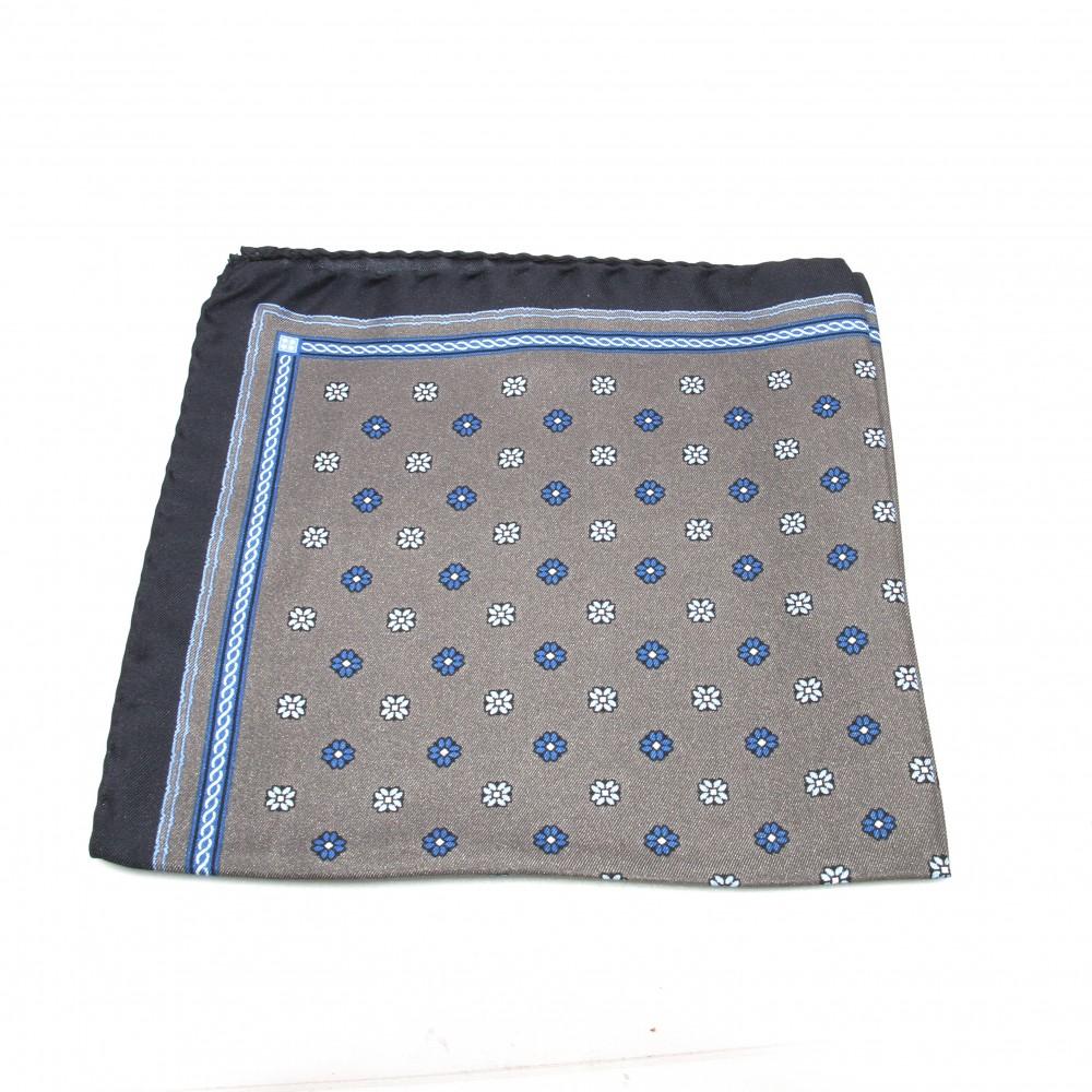 Pochette Soie : Grise - motifs bleus (Pochettes)