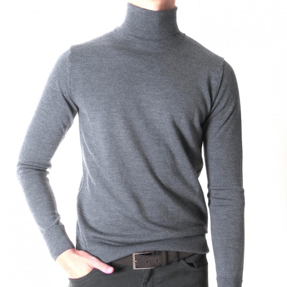 Pull Col roulé : GRIS - pure laine (pulls)