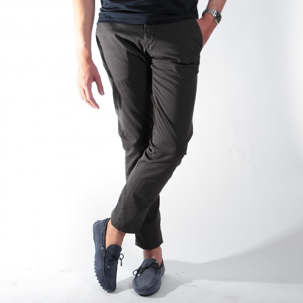 Chino Summer : Anthracite à motifs bleus (Pantalons)