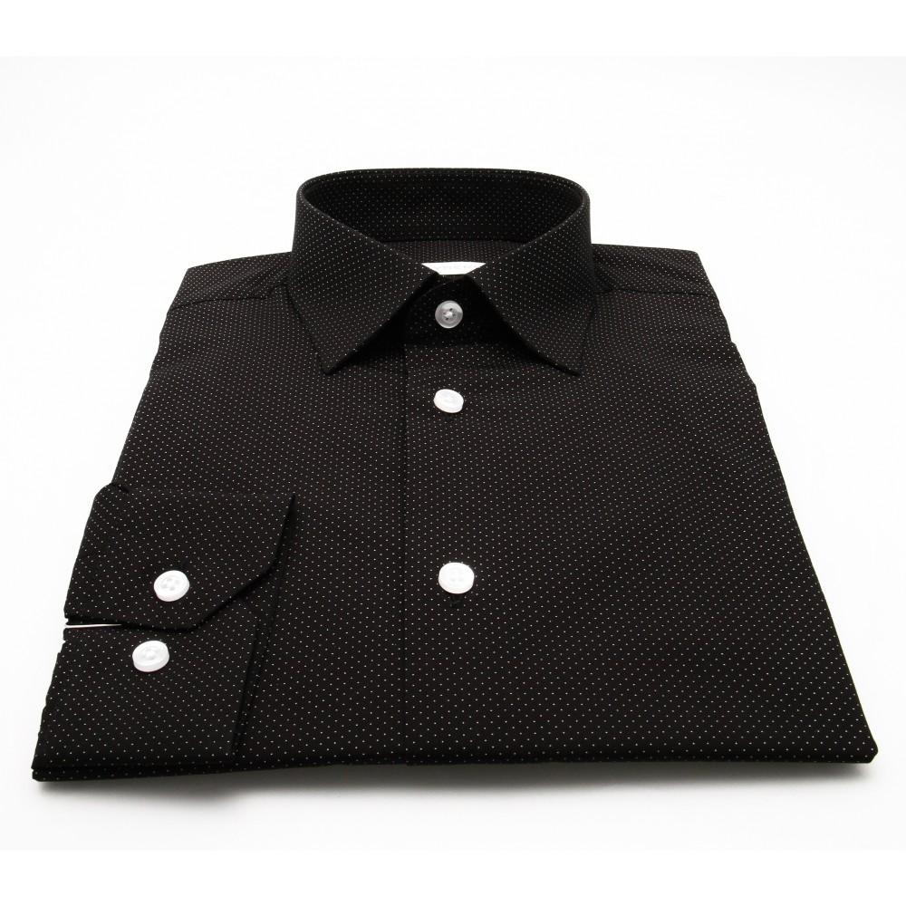 Chemise Stitch : Base indigo et pois blanc - Slim-Cut - Petit Col Français (chemises)