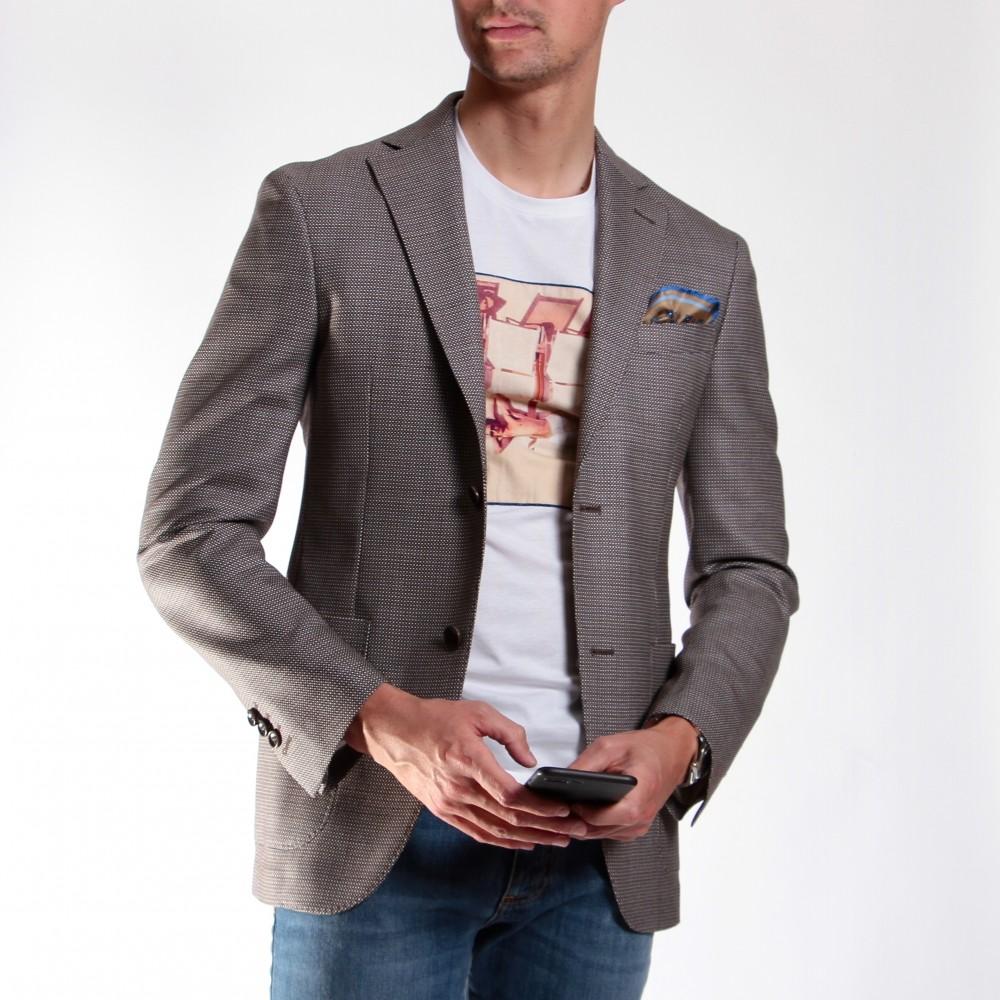 Veste marron-beige : Tissage en laine piquée - Tissu Reda 110's (Veste)