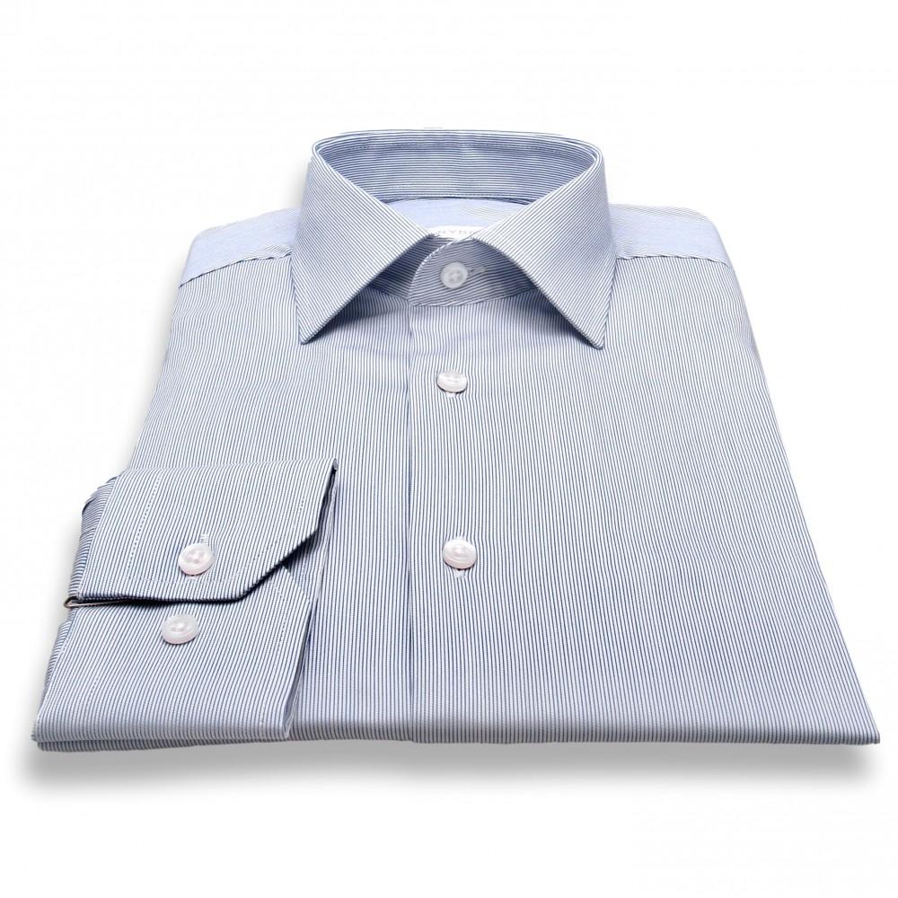 Chemise Roomy : Blanc et marine - Fines rayures - Col français (chemise)
