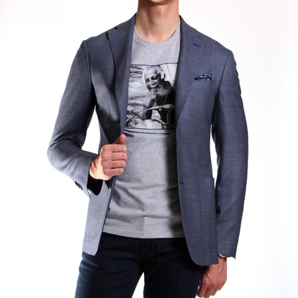 Veste bleue : Tissage en laine piquée - Tissu Reda (Veste)