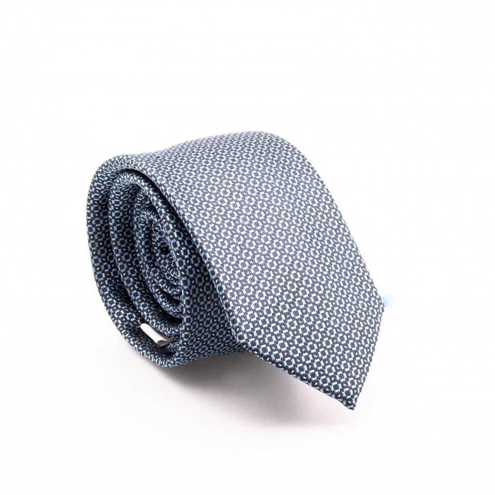Cravate en soie : Motifs camaïeu de bleu (cravate)