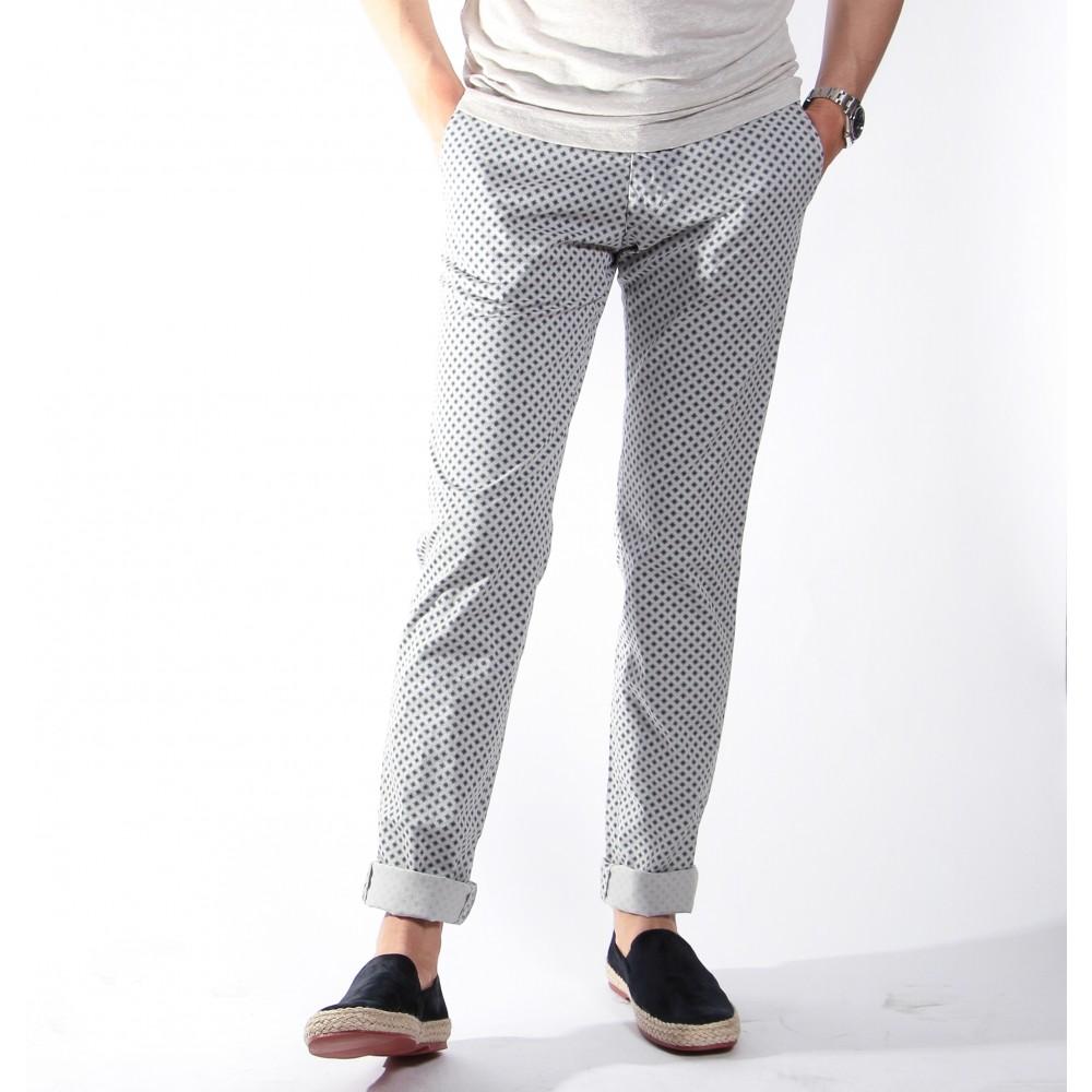Chino Summer : Gris clair à motifs bleus (Pantalons)