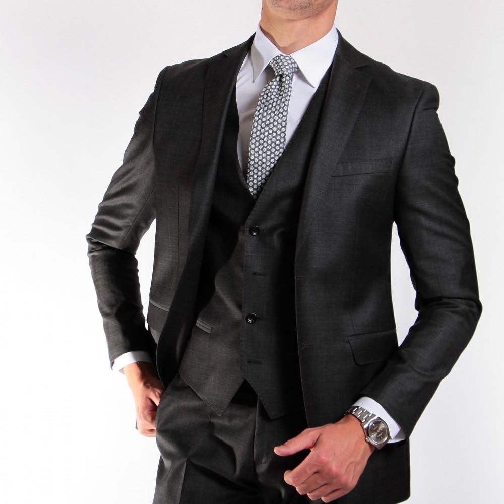 costume 3 pièces gris anthracite homme laine super 150's reda 150033 2