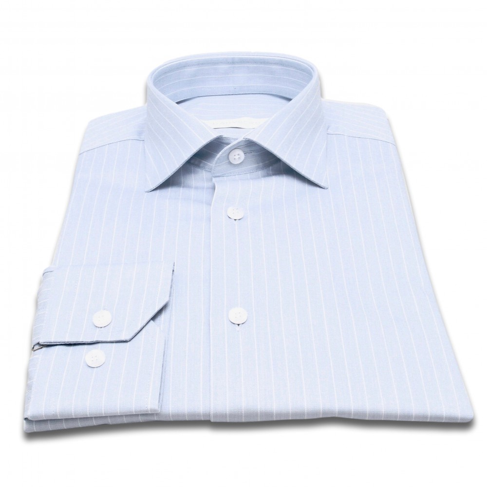 Chemise Reims : base bleue - Fines rayures blanches - Col français (chemise)