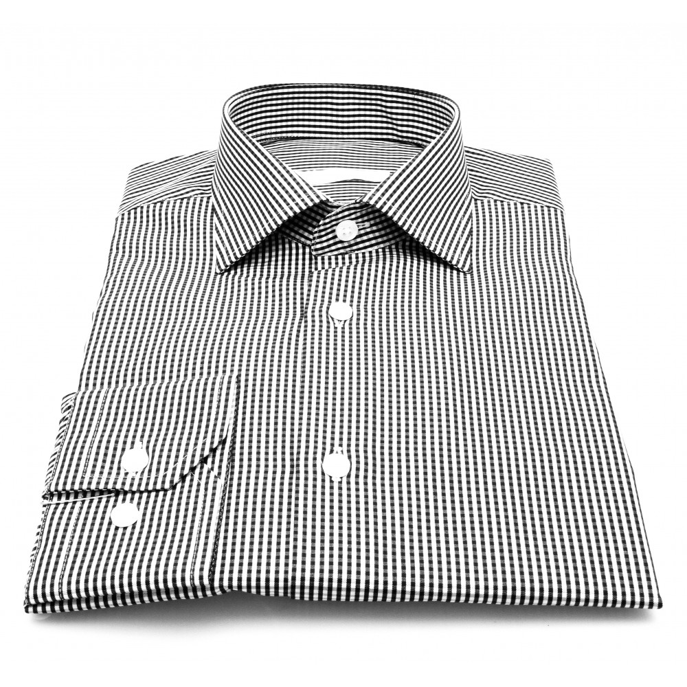 Chemise Cairo : Vichy ciel et blanc - Col Français (chemise)