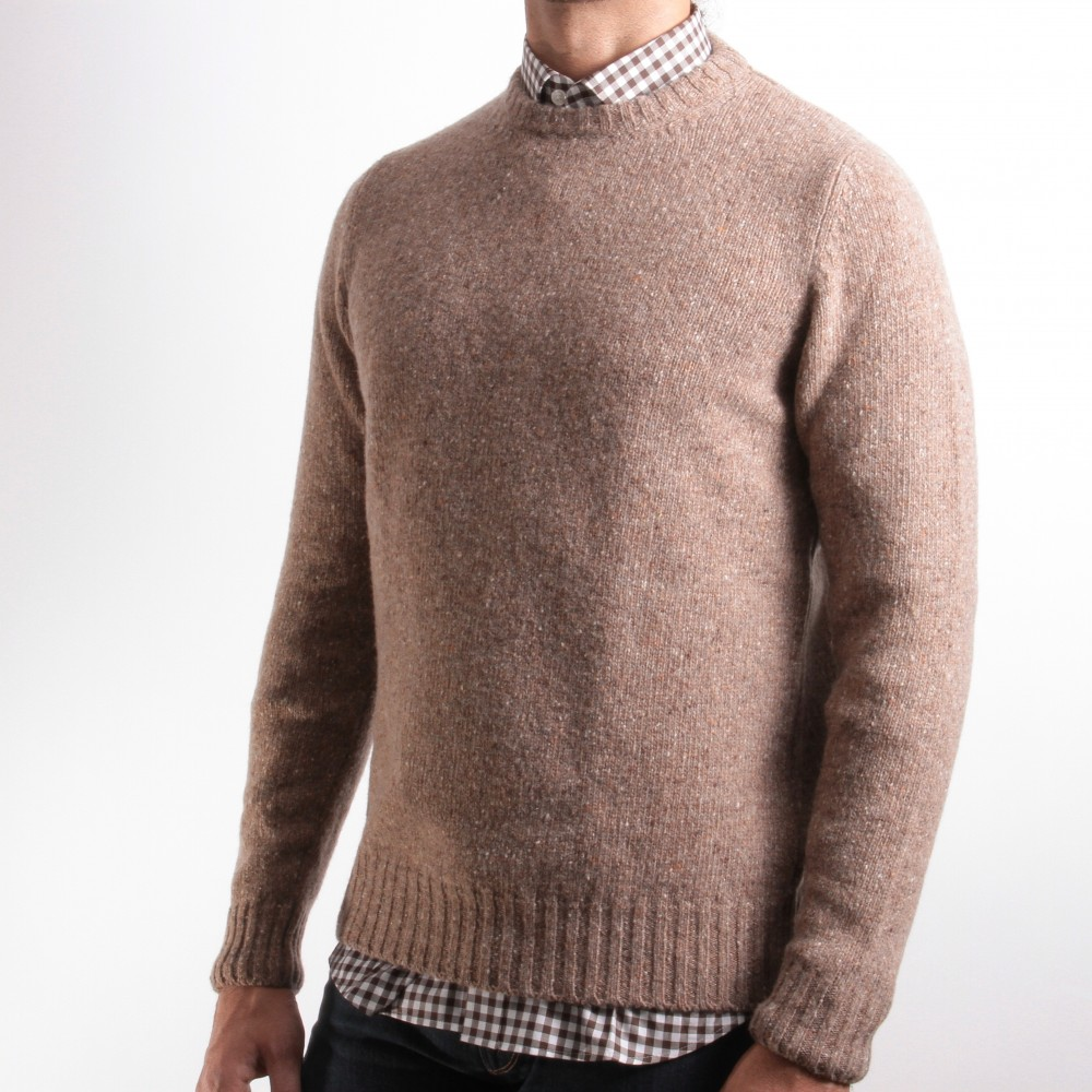 Pull chiné : Beige - Col Rond (pulls)