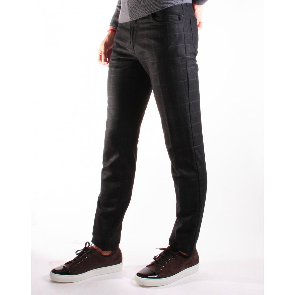 Jean Italie flanelle : anthracite - carreaux gris (pantalon)