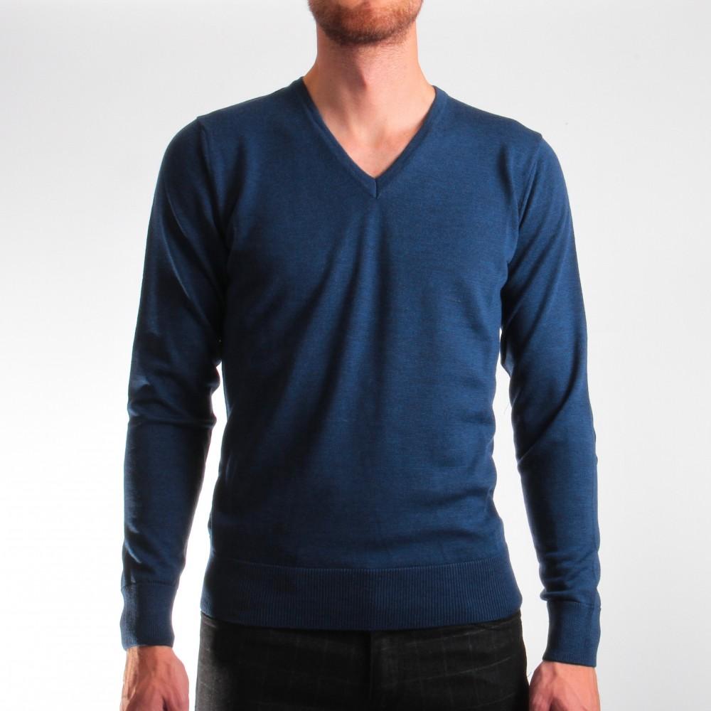Pull Bleu - Col V Coudières - Pure laine (Shirts)