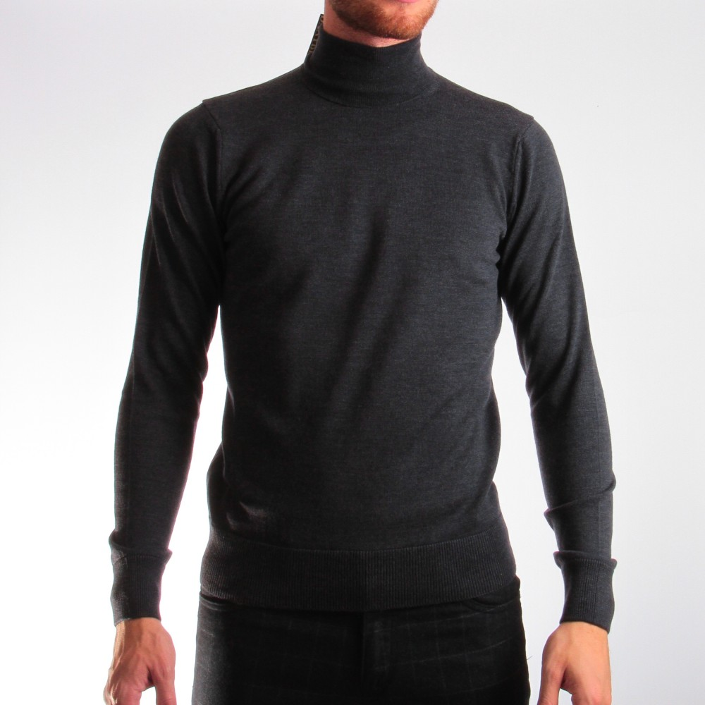Pull Col roulé : anthracite - pure laine (pulls)