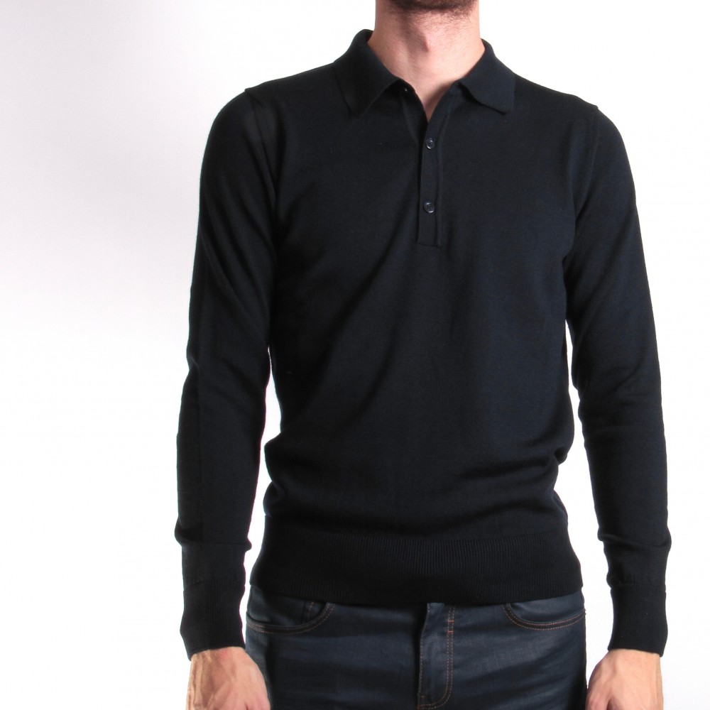 Pull Marine - Col Polo - Laine Vierge