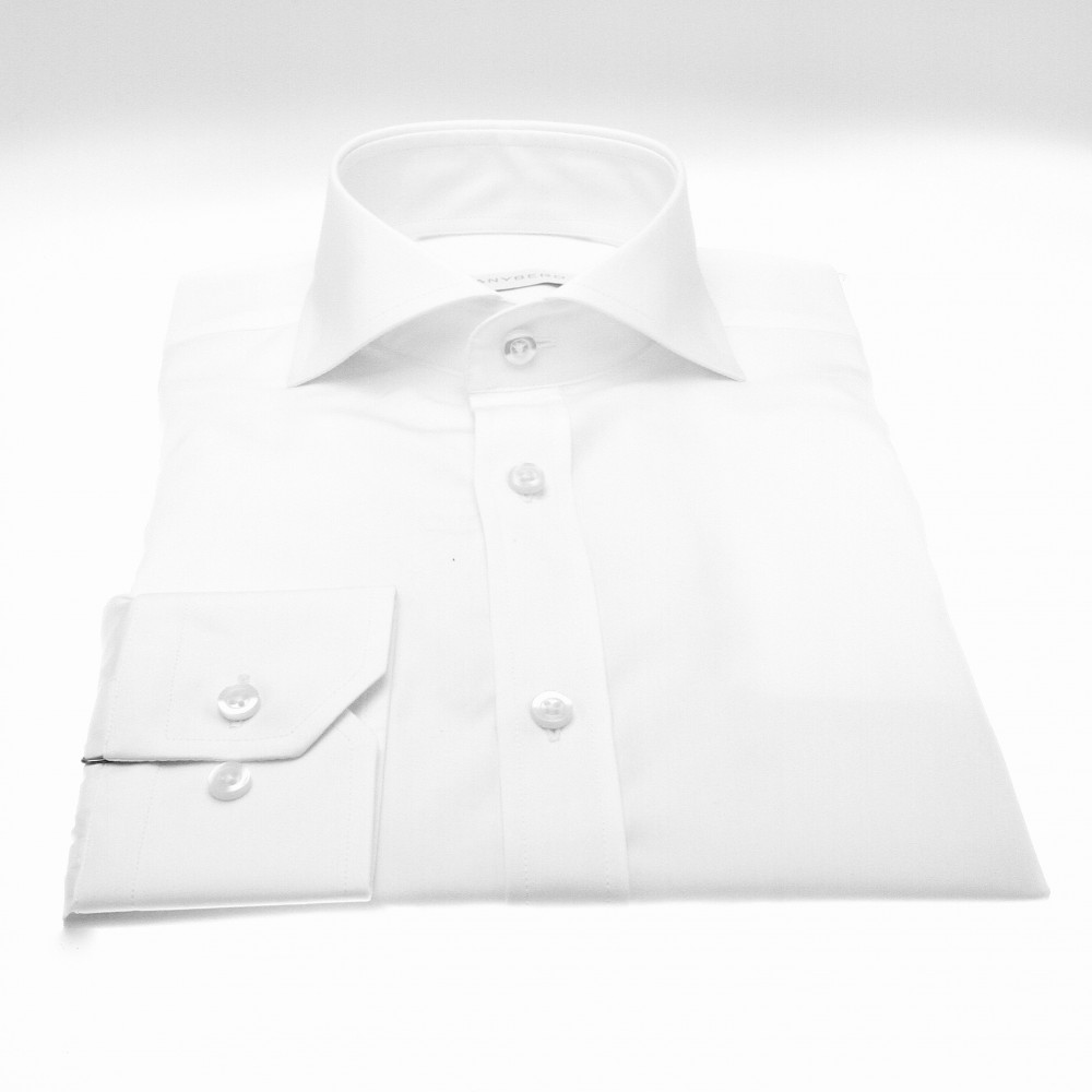 Chemise Reims : blanche - Col Italien (ShirtsChemise Reims : Rayures - Slim-cut - Col Italien (Shirts