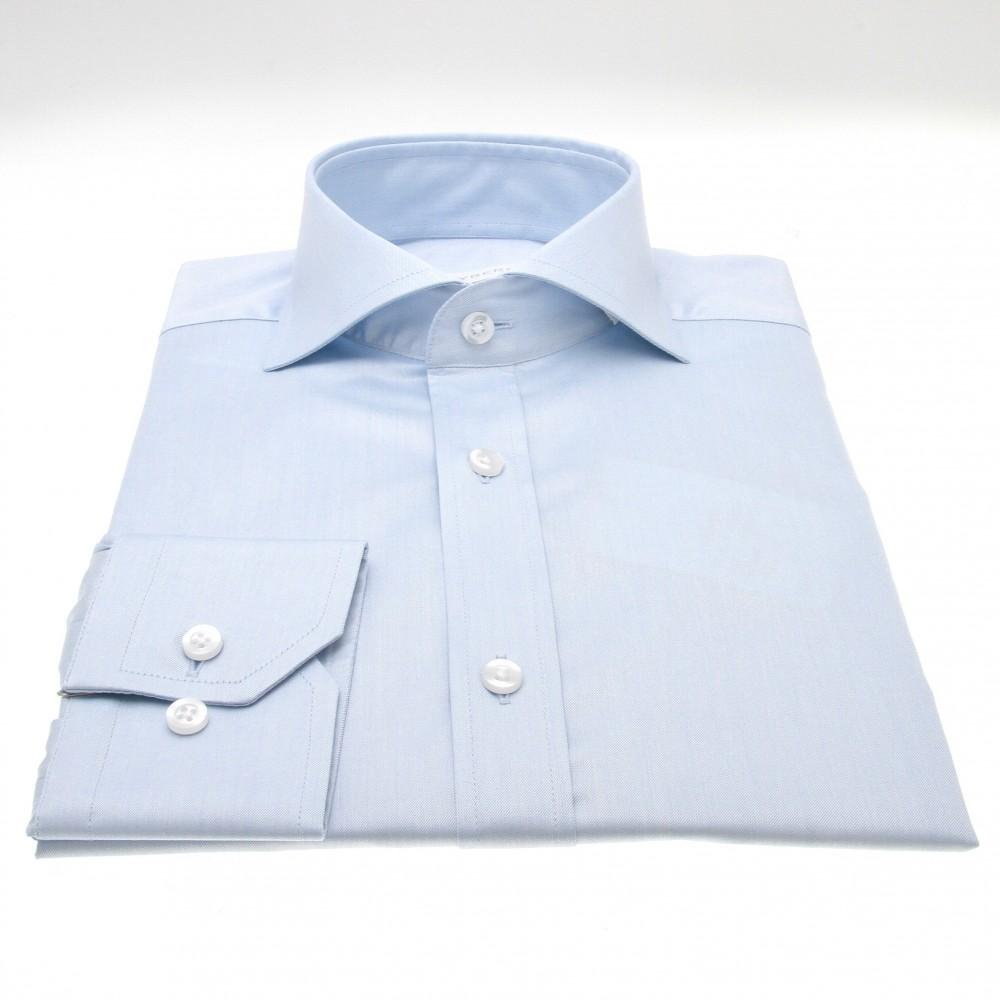 Chemise Reims : Bleue - Slim-Cut - Col Italien (chemise)