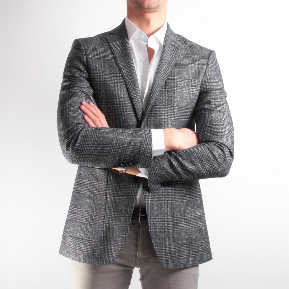 Veste Prince de Galles grise : Laine, soie et cachemire - Tissu Loro Piana (Veste)