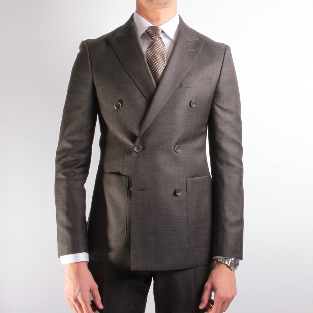 Costume Marron-gris - Croisé - Caviar de Laine - Canonico 130's (Suits)