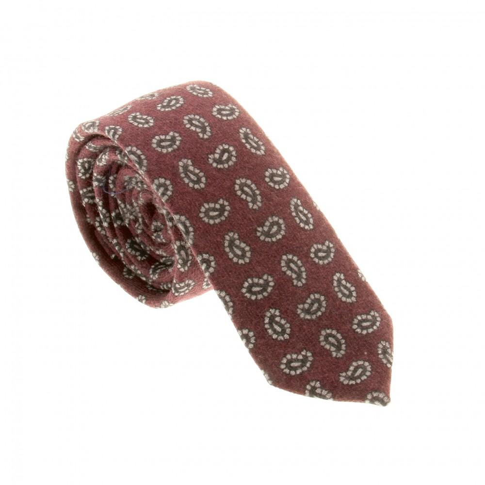 Cravate flanelle : Bordeaux - motifs noirs et blancs
