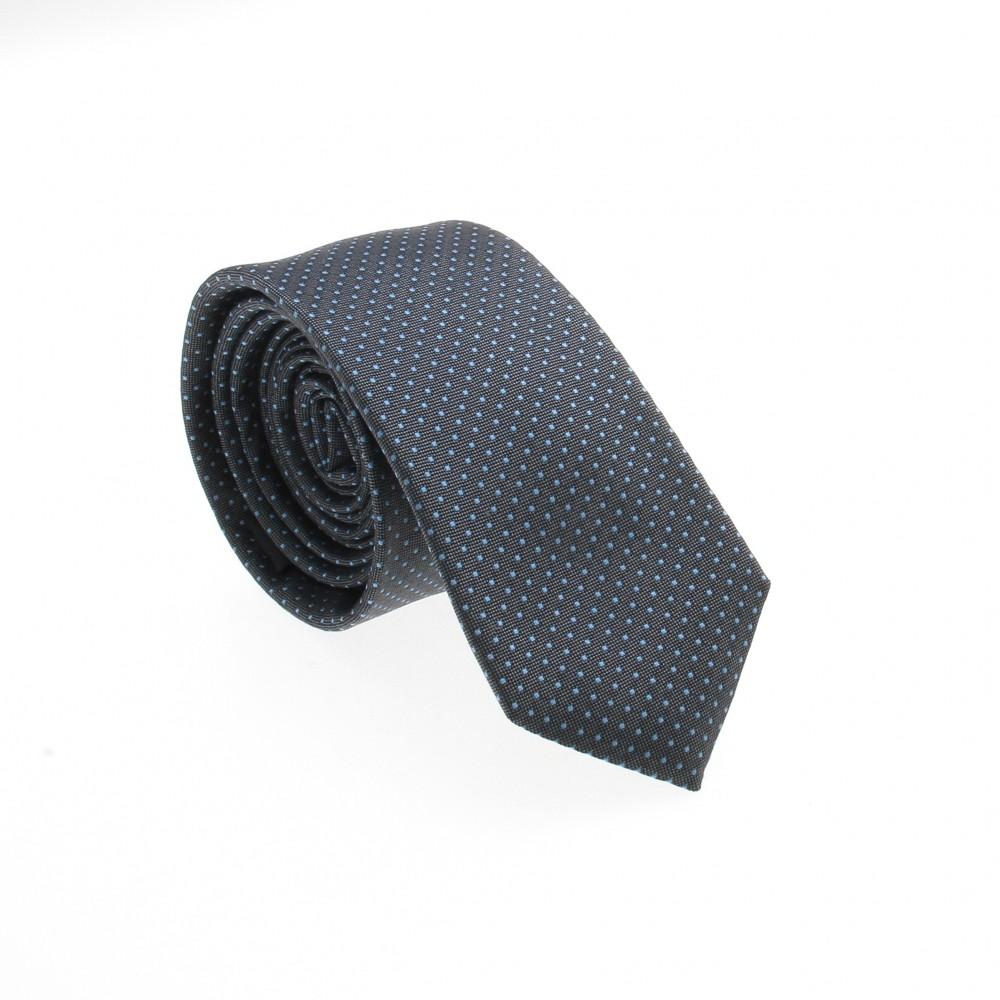 Cravate en soie : Base gris-bleue - Pois ciel (cravate)