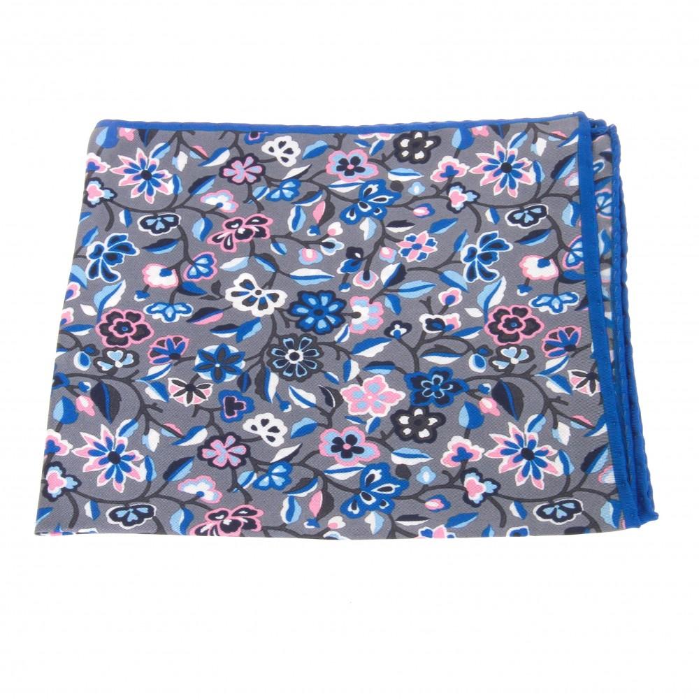 Pochette : Gris - Motifs bleus et roses (Pochettes)