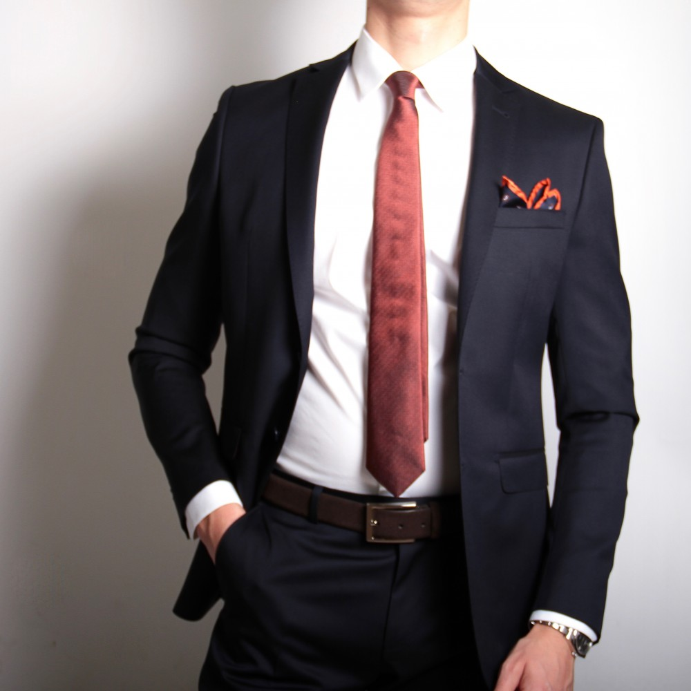 Costume Marine - Doublure orange - Slim-Fit - Pure Laine - Tissu Canonico 110's (Suits)